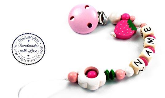premium schnullerkette mit namen gepr 228 gte buchstaben holz motiv erdbeere blume ebay